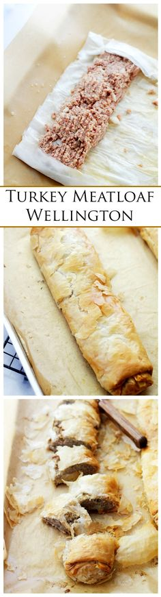 Turkey Meatloaf Wellington - Delicious and extremely flavorful Turkey Meatloaf wrapped in flaky phyllo dough sheets. Meatloaf Wellington Recipe, Wellington Food, Turkey Wellington, Chicken Wellington, Turkey Dishes, Turkey Recipes, Dinner Recipes, Phyllo Recipes, Cooking Recipes