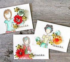 ・・・ I created some thank you cards using these sweet Julie Nutting doll stamps and colorful flowers. These sweet girls will be in Michaels soon ❤️❤️❤️ Paper Doll Craft, Prima Paper Dolls, Prima Doll Stamps, Doll Crafts, Atc Cards, Card Tags, Scrapbook Paper Crafts, Scrapbooking, Julie Nutting