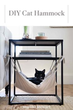 Learn how to make a cozy, comfortable cat hammock for your furry friend. Hung from the bottom of an end table, this hammock is the perfect spot for your cat to rest. Diy Cat Hammock, Diy Cat Bed, Cat Window Hammock, Pet Beds Diy, Hammock Bed, Cat Window Perch, Sheila E, Pet Furniture, Barbie Furniture