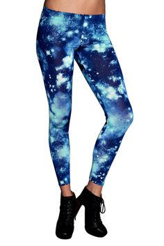 Go where no legs have gone before with these blue galaxy leggings!