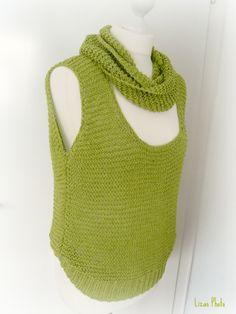Lockeres Strick-Top mit passendem Loop aus LANA GROSSA Linarte - Baumwolle mit Leinen und Viskose