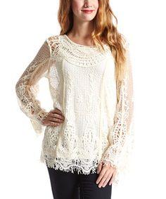 Caramel Crochet Linen-Blend Tunic - Women