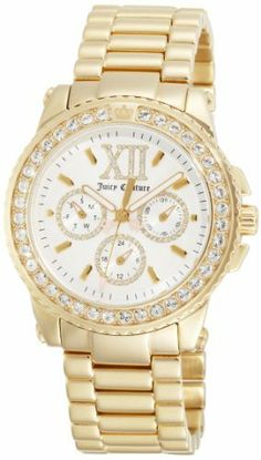 Juicy Couture Women's 1900711 Pedigree Gold Plated Bracelet Watch Juicy Couture. $210.93. Logo track. Oversized crystal embellished roman numeral 12. Juicy logo engraved caseback. Water-resistant to 99 feet (30 M). Gold plated bracelet with 3 subdials and oversized crystal embellished roman numeral 12. Save 28%!