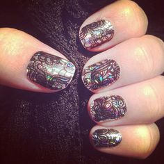 Shut. The. Front. Door. This combo is one of coolest I've seen! Shown here is Holographic with Black Lace on top. Get the look: megsglamjams.jamberrynails.com.au