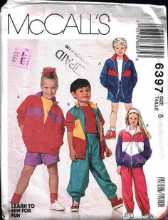 McCall's Sewing Pattern 6397 Children's lined or unlined Jacket, Pants, Shorts Size 5 Used