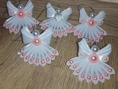 Diy Crafts - Crochet Christmas Angels Baptism gift Lace Angel ornament Tree decoration Home decor Wedding gift r Christmas Angel Ornaments, Decoration Christmas, Christmas Diy, Christmas Wreaths, Crochet Christmas, Diy Ribbon Flowers, Kanzashi Flowers, Ribbon Crafts, Angel Crafts