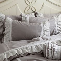 Share this page with others and get 10% off! Grey Ruffle Queen Duvet Cover Set