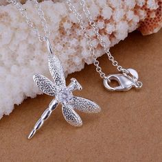 Free Shipping silver plated Necklace, sterling-silver-jewelry Inlaid stone dragonfly /HWUUUTTX HWUUUTTX