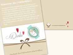 Glückwunschkarten - Hebamme - Dankekarte mit Button + Umschlag - ein Designerstück von moments-kreativatelier bei DaWanda