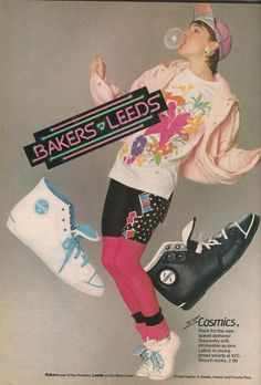 Bakers-Leeds Shoes Ad from Teen Magazine August 1987. '80s Fashion