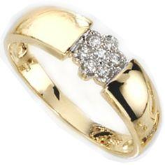 Dreambase Damen-Ring teilrhodiniert 14 Karat (585) Gelbgold 7 Diamant 0.10 ct. 58 (18.5) von Dreambase, http://www.amazon.de/dp/B00AQYOZME/ref=cm_sw_r_pi_dp_zq..qb053G54F