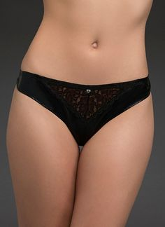 Lace Faux Leather G-String Panty | Panties