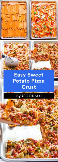 Easy Sweet Potato Pizza Crust-- without cheese great option! Clean Eating Vegetarian, Clean Eating Dinner, Healthy Eating, Clean Eating Pizza, Healthy Cooking, Healthy Snacks, Cooking Recipes, Healthy Recipes, Grill Recipes