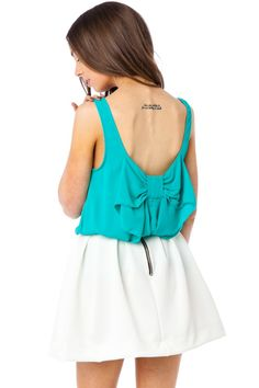 ShopSosie Style : Coletta Bow Tank in Teal
