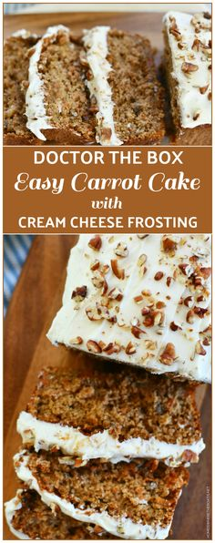 An easy and deliciously moist, doctor-the-box recipe for carrot cake! Perfectly paired with homemade cream cheese frosting! Box Carrot Cake Recipe, Carrot Cake Bars, Easy Carrot Cake, Spice Cake Recipes, Easy Cake Recipes, Easy Desserts, Dessert Recipes, Carrot Cakes, Carrot Cake Frosting