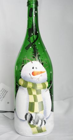 Wine Bottle Light-Snowman with sleeping raccoon-night light lamp-choice frosted or green bottle