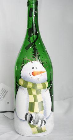 Botella de vino luz-Snowman con dormir por bestemancreations