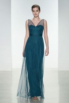 Understated Bridesmaid Elegance by Amsale:   Pacific Blue Tulle