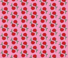 Danita's Red Roses Over Pink fabric by midcoast_miscellany on Spoonflower - custom fabric