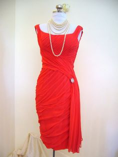 CEIL CHAPMAN Heavily Draped Red Swag Cocktail Wiggle Dress