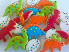 Dinosaur Party Ideas: Dinosaur Mini Sugar Cookies- 6 dozen for Jackie. $55.90, via Etsy.