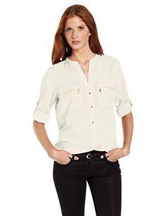 01ef29dea Calvin Klein Women's Modern Essential Zipper Button Front Blouse,Watermelon,Small:  Button-front blouse featuring split neckline, zipper chest pockets, and ...