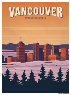 Vintage Travel Image of Vancouver Poster - Size - Digital Print on 80 lb cover matte white *SHIPPING DETAILS* Items will be mailed out in tubes within 3 days after order. Yellowstone National Park, National Parks, Poster On, Poster Prints, Art Print, Party Vintage, Wedding Vintage, Posters Canada, Tableau Pop Art