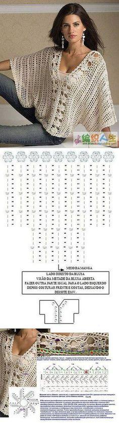 Crochet [] # # #Crochet #Chart, # #Posts, # #Ideas, # #Charts, # #Knitting, # #Income, # #Crochet #Blouses, # #Ponchos, # #Crochet