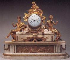Louis XVI Ormolu And White Marble Mantel Clock With Original Gilding, The White Jeweled Enamel Dial Is Painted With Black Roman And Arabic Numerals Showing Time And Date And Is Inscribed Bourdier - France Century (Louis XVI Period) Antique Pendulum Wall Clock, Antique Wall Clocks, Vintage Clocks, Louis Xvi, Classic Clocks, Wall Clock Online, Clocks For Sale, Mantel Clocks, Retro Clock