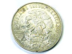 SILVER MEXICO 1968  25 C   ,  COIN T809 silver coins , mexican silver coins,  ,silver bullion coins