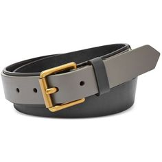 Fossil Leather Inset Belt ($48) ❤ liked on Polyvore featuring accessories, belts, black and fossil belts