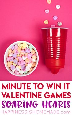 These Valentine games are perfect for all ages - challenging enough for older kids and adults, but still simple enough that younger children can join in the fun! Valentines Games For Couples, Valentine Games, Valentines Anime, Valentines Puns, Valentine Crafts For Kids, Valentines Gifts For Boyfriend, Valentines Day Party, Valentine Ideas, Valentine Box