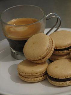 espresso macaroons (whites, almond meal, cream, chocolate)