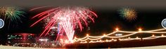 Fireworks over Mill Ave Bridge, Tempe, AZ. Swim start for IMAZ, Transitions and Ironman Village