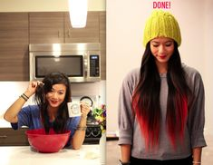 KOOL-AID DIP DYE/OMBRE This method will fade slowly and eventually wash out completely after a few weeks. Essentially, you boil water, add five packets your choice Kool-Aid color/flavor and mix together in a bowl. Dip your ends for roughly 30 minutes, blow dry and style! You can also try food coloring in place of Kool-Aid, which may fade/rinse out faster