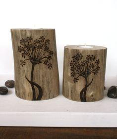 Allium Flowers - Driftwood Tealight Holders - Woodburning. $48.00, via Etsy.