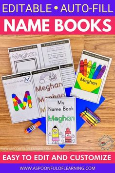 Let's have some name writing practice fun! Surprise your students with their very own personalized name book. All you need to do is type your class list directly in the PDF and you'll have customized name writing practice books instantly! These are foldable books packed with TONS of activities that will allow students to practice writing their name in a variety of ways: tracing and writing their name, fine motor skills, name identification, counting, letter identification, a craft, and more!