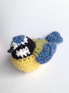 Crochet life-size bluetit bird