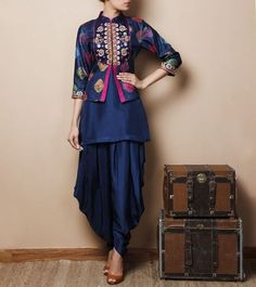 Its a stunning design, just requires a perfect body to showcase — Blue Silk Kurti with Jodhpuris #indianfashion http://www.shaadiekhas.com/