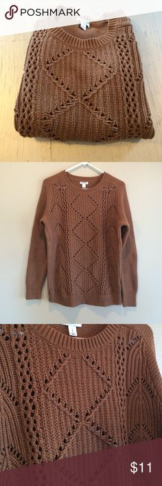 "Light Brown Open Weave Sweater I wore this twice and have hand washed it twice as well. In very good pre-loved condition with no holes or stains. Front open weave detailing with solid weave sleeves and back. Measures 21"" armpit to armpit and 26.5"" shoulder to hem. Old Navy Sweaters Crew & Scoop Necks"