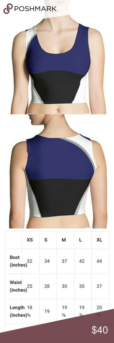 Black & Blue Black and Blue Crop Top  Matching Leggings sold separately.  See other listing.   • 82% polyester/18% spandex • Material has a four-way stretch, which means fabric stretches and recovers on the cross and lengthwise grains. • Made with a smooth, comfortable microfiber yarn • Precision-cut and hand-sewn HWA Tops Crop Tops