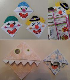 activité origami Marque page Clown / Monstre
