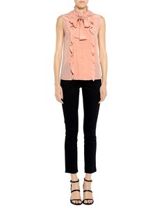 Red Valentino Ruffled Tie-Neck Blouse