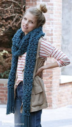 Take a late night stroll this fall and winter with the Down the Moonlit Path Super Scarf. This crochet scarf pattern is an easy to follow and features a simple-to-follow repeating stitch pattern of chains and crossed-over double crochet stitches. The result is a criss-crossing pattern that is still super cozy because of the chunky yarn that's suggested. Add some fringe to stay on-trend this fall, and stay warm by wrapping this extra long crochet super scarf around your neck multiple times.