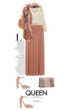 """""""Six degrees of separation"""" by ginny-mckenzie ❤ liked on Polyvore featuring Sonia Rykiel, Rochas, Valentino, Elie Saab, Gianvito Rossi, Ashley Pittman, nude, coat, fur and longSkirt"""