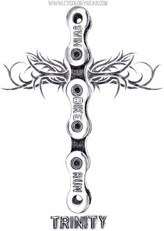 Lead pencil on paper drawing. TRINITY: one sport, but also It also means a collective of 3 things. I drew it as a linked bicycle chain. Can be religious -or not. Triathlon inspires passion and can be like a religion -as can any sport be viewed as such. Cycling Tattoo, Bicycle Tattoo, Bicycle Art, Biker Tattoos, Tribal Tattoos, Tattoo Motos, Body Art Tattoos, Sleeve Tattoos, Tattoo Ink