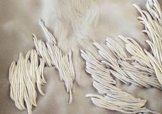 tone on tone embroidery sample on layers of silk chiffon // Ya-Pei Tseng