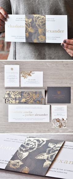 A stunning gold and grey wedding invitation design from Engaging Papers. What do we love most? The floral pattern and belly band! https://engagingpapers.com/wedding-invitations?product_id=488 #weddinginvitation