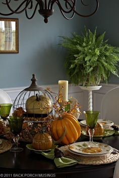 Love the fern, I guess I'll have to bring mine in at first cold. 67 Cool Fall Table Decorating Ideas | Shelterness