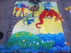 Over The Edge, chalk mural, Jen Swain